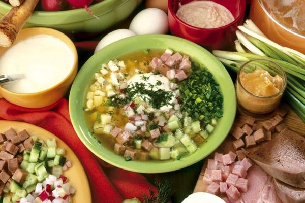 Окрошка, рецепт окрошки, как приготовить окрошку, окрошка на квасе, окрошка на кефире, окрошка на минералке, окрошка мясная, окрошка овощная