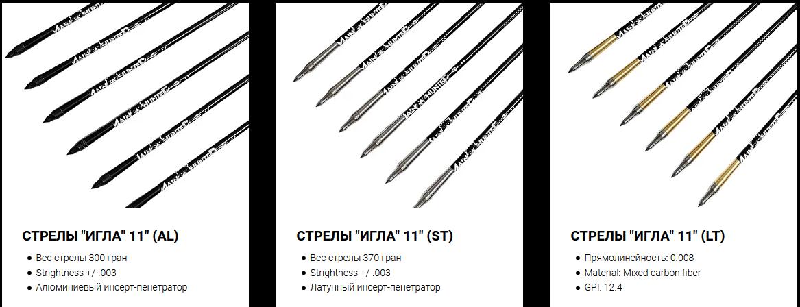 Для арбалета опционально предлагаются специально-разработанные охотничьи боеприпасы 5 видов, в том числе гарпуны для боуфишинга. По желанию арбалет комплектуется кастомными тетивой и тросами изготавливаемыми индивидуально лучшими российскими мастерами-лучниками из лучших мировых материалов. Арбалет может использовать для боуфишинга обычную спиннинговую катушку.