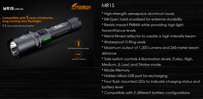 FiTorch MR15 – фонарь с 4 режимами освещения, стробоскопом, сигналом SOS, 2 боковые кнопки. Светодиод: Cree XHP-70.2 Рабочее напряжение: 2,75 – 6 В. Фонарь имеет встроенное зарядное устройство и поддерживает широкий набора источников питания: