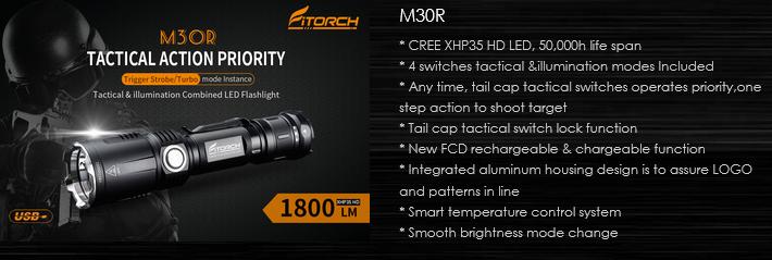 FiTorch M30R сочетает возможности универсального и тактического фонаря. Светодиод CREE XHP35 HD (Рабочее напряжение: 2,75 – 6 В) со световым потоком 1800 лм с дистанцией освещения до 348 м. 4 режима освещения, стробоскоп и режим подачи сигналов SOS, быстрый доступ к режиму турбо и яркому стробоскопу торцевой кнопкой, функция «повербанк». Такой фонарь подойдет для активного туризма, охоты, рыбалки, а также спецслужбам, военным и сотрудникам охранных и силовых структур, а также как универсальный фонарь для ежедневного использования.