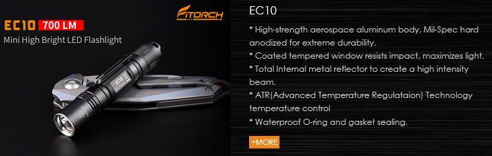 FiTorch EC10 – компактный цилиндрический фонарь со световым потоком 700 лм, (Светодиод: Cree XP-L, Рабочее напряжение: 0,8 – 4,2 В), тремя режимами освещения, стробоскопом и режимом SOS для ежедневного использования, как дома, так и на природе.